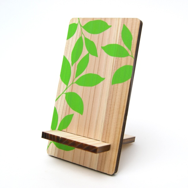 wooden Phone stand print on & laser cut in cedar thinning of Japan