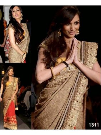 Malaika Arora Style Bollywood Golden Saree At Lakme Fashion Week 2013 Flat 300/- OFF and Special discounts still applicable. Buy now. We ship worldwide. http://20offers.com/deal_of_the_day