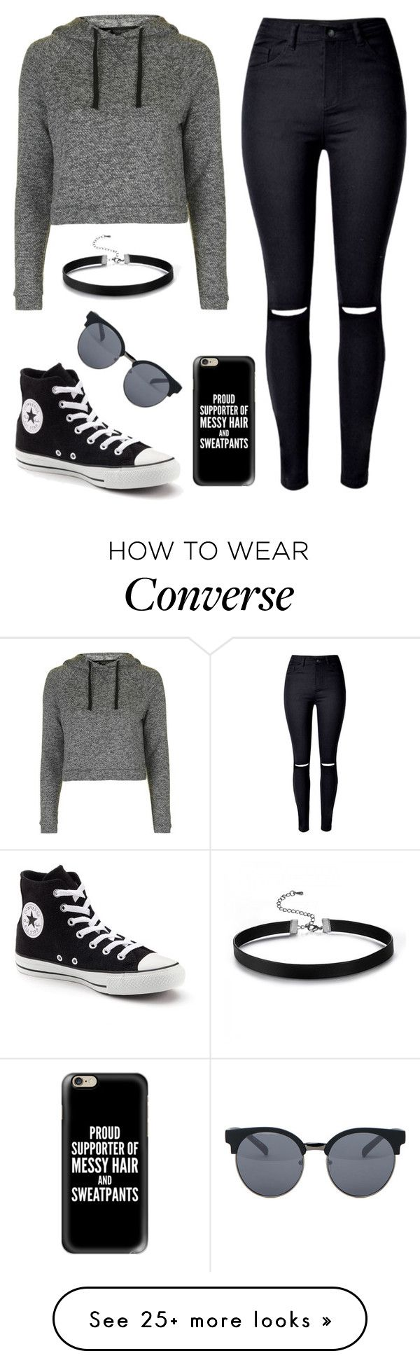 """Lazy day"" by lindseysmart on Polyvore featuring Topshop, WithChic, Converse, Casetify and Quay"