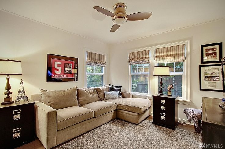 Traditional Home Office with Carpet, Henry 2-Piece Chaise Sectional, High ceiling, Ceiling fan, Hardwood floors