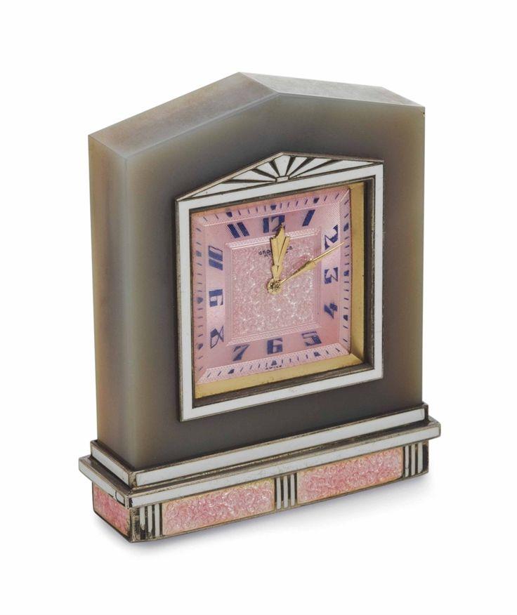 A fine swiss art deco agate enamel and guilloche clock circa 1925