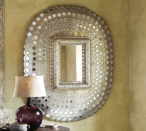 Peacock Mirror | Pottery Barn - i will figure out how to copy this. Maybe get the convex look with a wicker mirror