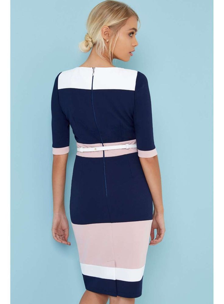 Womens **Paper Dolls Colour Block Bodycon Dress- Multi Colour