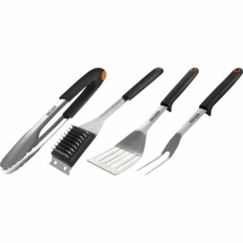 Premium BBQ tool set includes Spatula, Tongs, Carving fork & Grill brush. Spatula features integrated tool rest and vented blade for better food release. The Tongs feature a push lock for easy storage, and scalloped head for gripping of food. Grill brush features an ergonomic grip, stainless steel scraper and bristles. The perfect gift for any barbecue enthusiast.