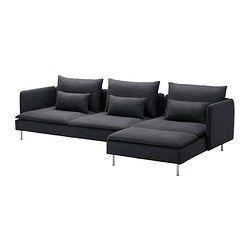 SÖDERHAMN Three-seat sofa and chaise longue, Samsta dark grey - Samsta dark grey - IKEA