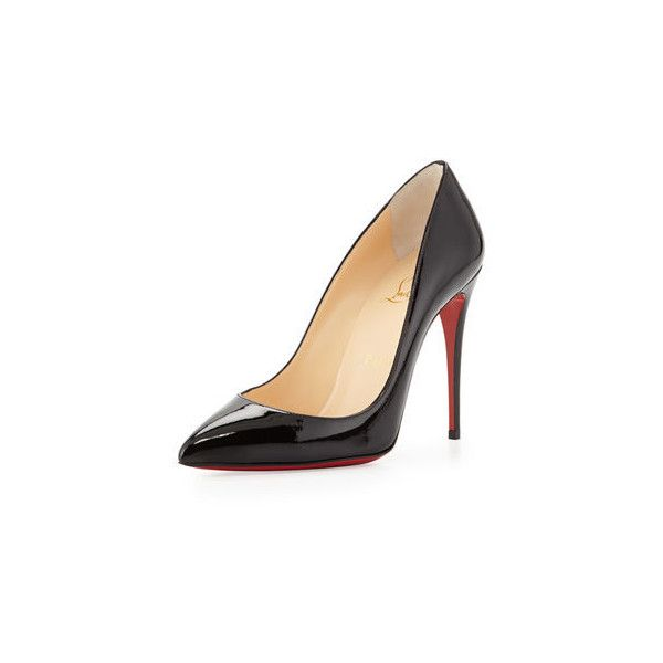 Christian Louboutin Pigalle Follies Point-Toe Red Sole Pump ($675) ❤ liked on Polyvore featuring shoes, pumps, black, black pumps, christian louboutin pumps, red sole shoes, pointy-toe pumps and low pumps