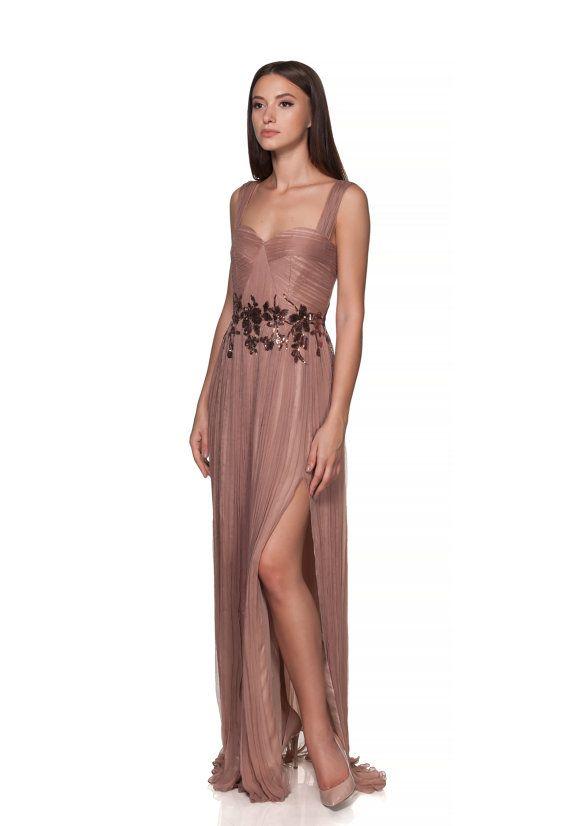 Beige/Almond Long silk engagement gown/dress/ Prom dress/ Wedding dress/ pleated skirt from muslin silk boho style/ bridesmaid dress