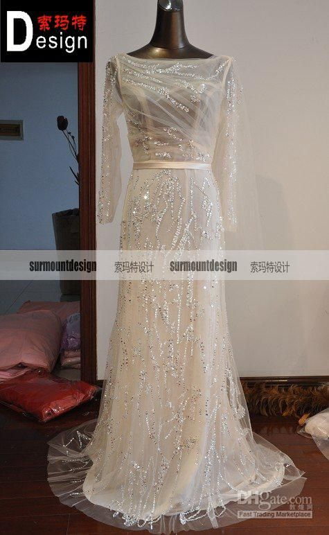 Elie saab Couture Real picture full bead long sleeves tulle evening/ prom dress