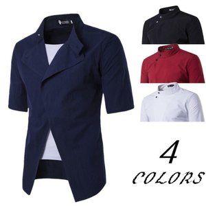 メンズ ワイシャツ ドレスシャツ 半袖 トップス スタンドカラー マオカラー 斜め ボタン シンプル 無地 おしゃれ きれいめ カジュアルファッション
