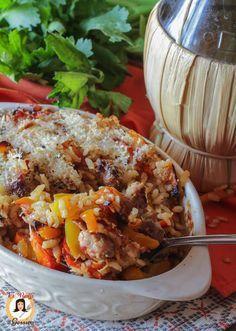 Risotto salsiccia e peperoni al forno