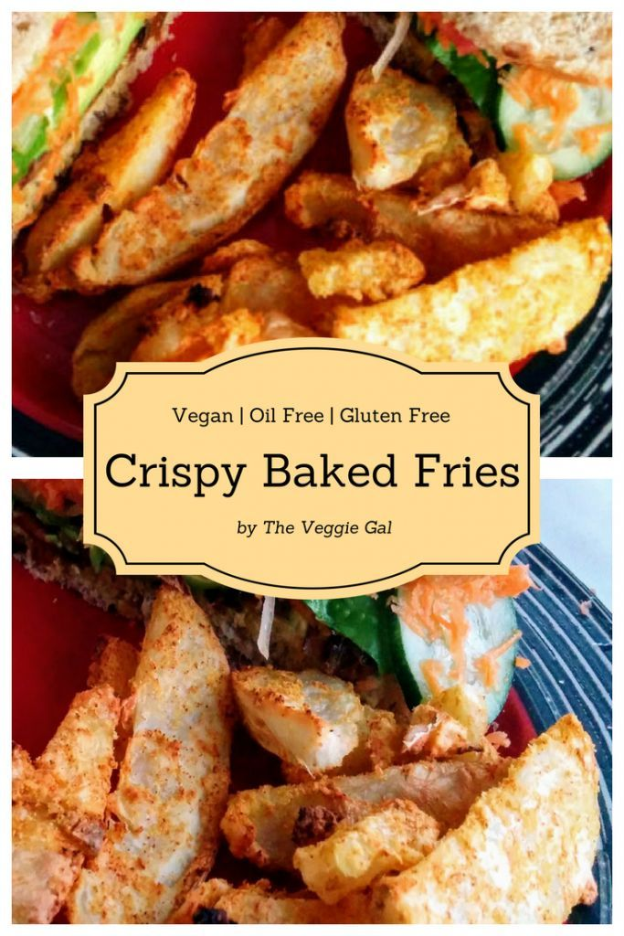 These Crispy Baked Fries are oil free and super tasty.  Serve them with a Mushroom Bacon Veggie Sandwich for a filling and satisfying meal.