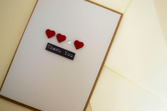Hearts & Jewel  Thank You Card by  Le Petit Hibou on Etsy, €4.50