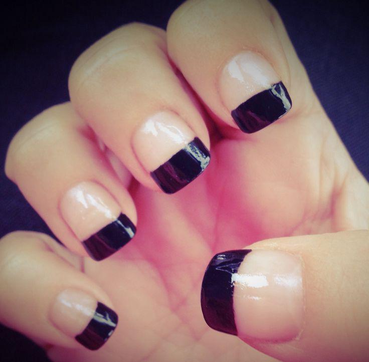 Black french tip toenail designs
