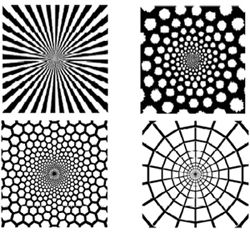Computer generated representations of form constants. The top two images represent a funnel and a spiral as seen after taking LSD, the bottom left image is a honeycomb generated by marijuana, and the bottom right image is a cobweb. Image from <a href='#one'>[1]</a>, used by permission.