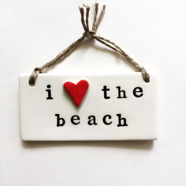 i love the beach - ceramic wall plaque - Coastal Studio