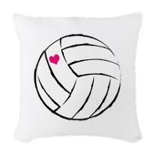 volleyball- heart Woven Throw Pillow for on my bed