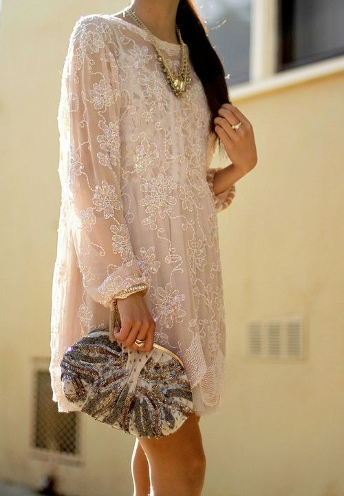 Beaded tunic dresses.