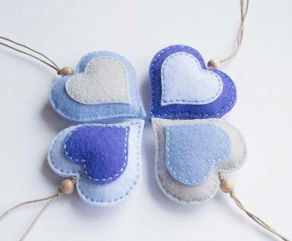 Blu feltro ornamento dei cuori set di 4 cuore di suyika su Etsy                                                                                                                                                                                 More