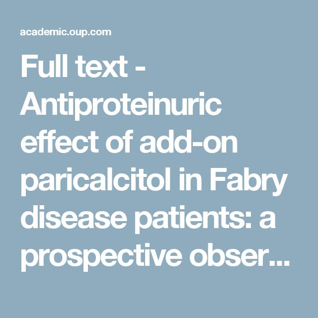 Full text - Antiproteinuric effect of add-on paricalcitol in Fabry disease patients: a prospective observational study | Nephrology Dialysis Transplantation | Oxford Academic