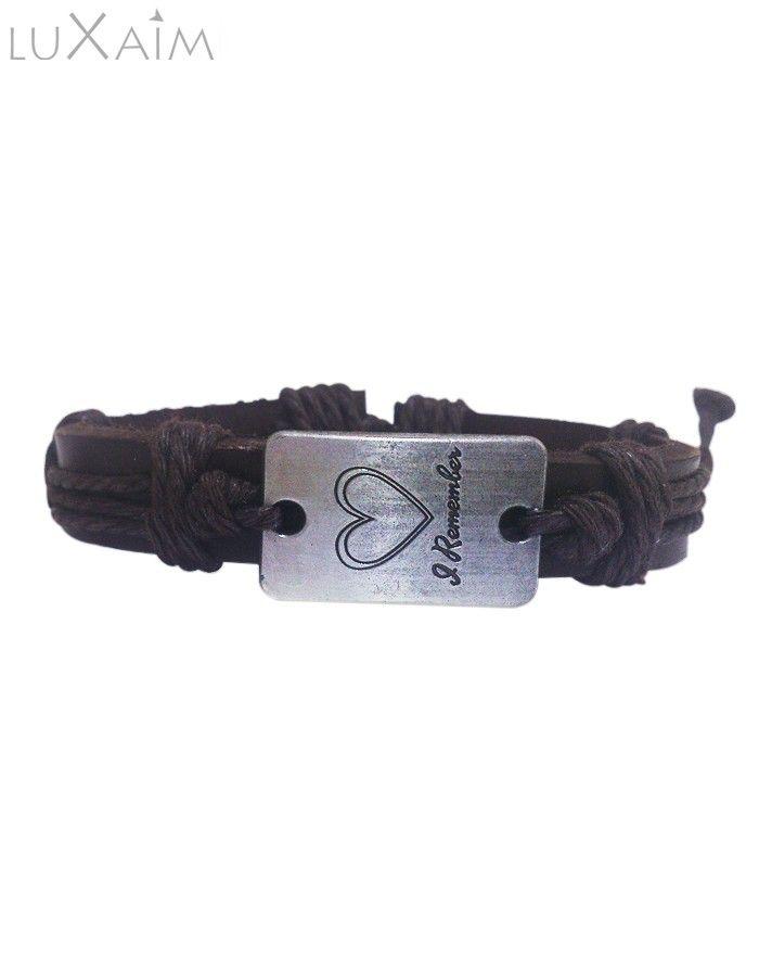Black Color Leather Belt Believe Bracelet