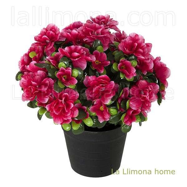 Planta flores azalea artificial fucsia con maceta http for Plantas ornamentales artificiales