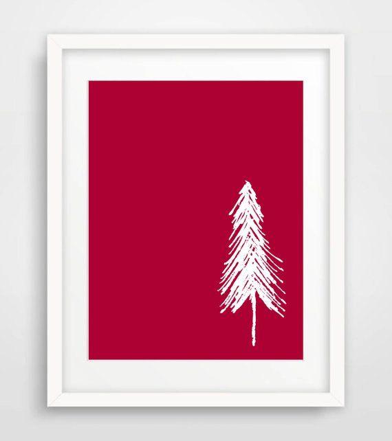 Minimalist Christmas Printable Scandinavian Christmas Art Print Red White Christmas Wall Art Nordic Holi Christmas Tree Art Wall Art Gift Christmas Wall Art