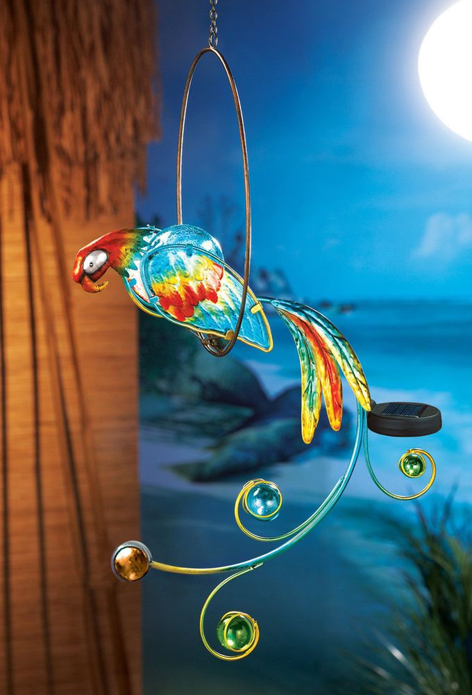 Solar Lighted Parrot Hanger Tropical Outdoor Decoration