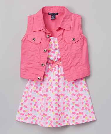 Another great find on #zulily! Pink Floral Yoke Dress & Denim Vest - Infant, Toddler & Girls #zulilyfinds
