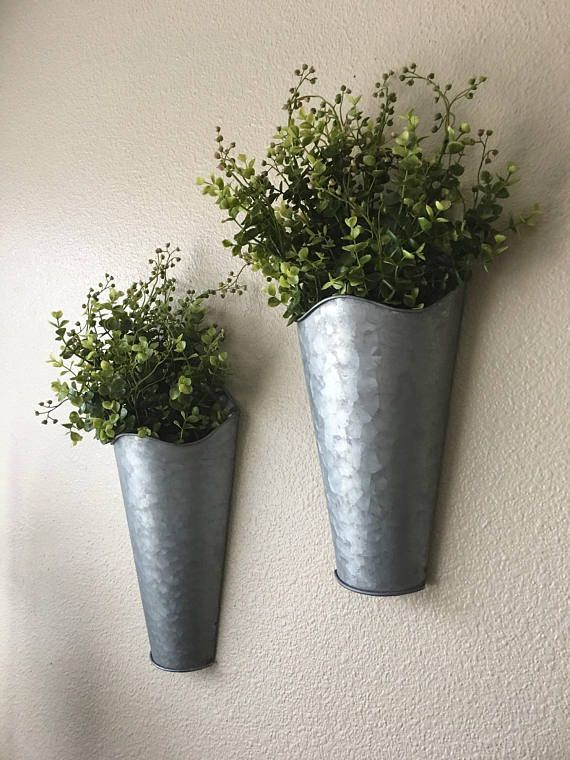 Set Of Two Rustic Wall Decor Sconce With Flowers Country Wall