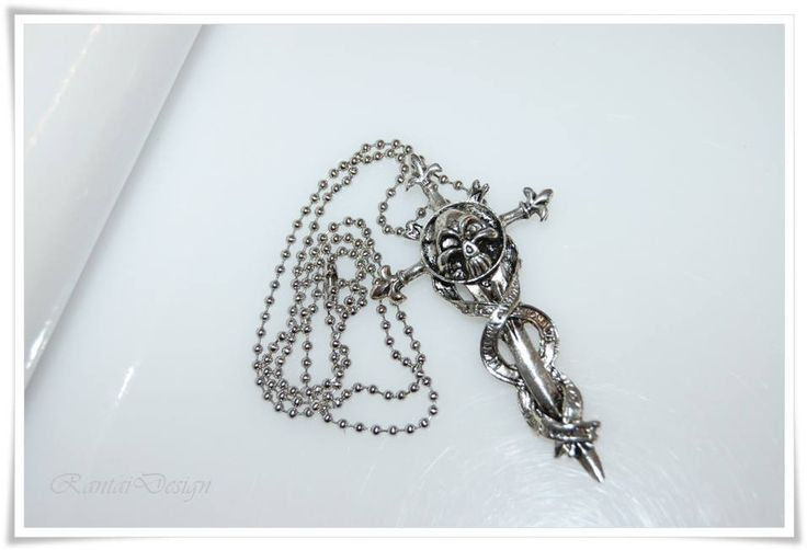 Herrenschmuck Halskette Biker Edelstahlkette Für den Herren Gothik Groovy Necklace for men  Cross Skull Statement von rantaiDesign auf Etsy