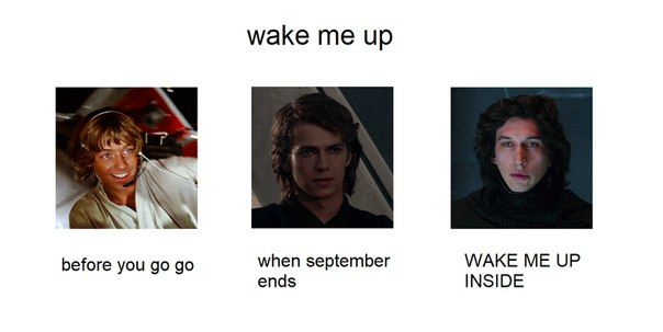 The Skywalker boys wake me up: LUKE: before you go go ANAKIN: when September ends KYLO: WAKE ME UP INSIDE.