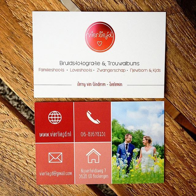 #visitekaartjes van Verliefd - Bruids-fotografie & Trouwalbums / Famillieshoots, Loveshoots, Zwangerscap, Newborn & Kids - Jenny van Ginderen-Seeleman. www.vierliefd.nl | Uploaded by Drukwerkdeal.nl