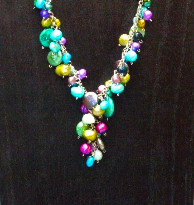 "Fresh Water Pearls, Stering Silver  Length: 23"" - 25.5"" / 58.5cm - 65cm  Item #: nec019"