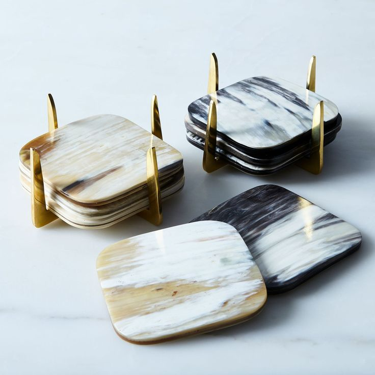 Pure Brass & Horn Coasters (Set of 4) on Food52