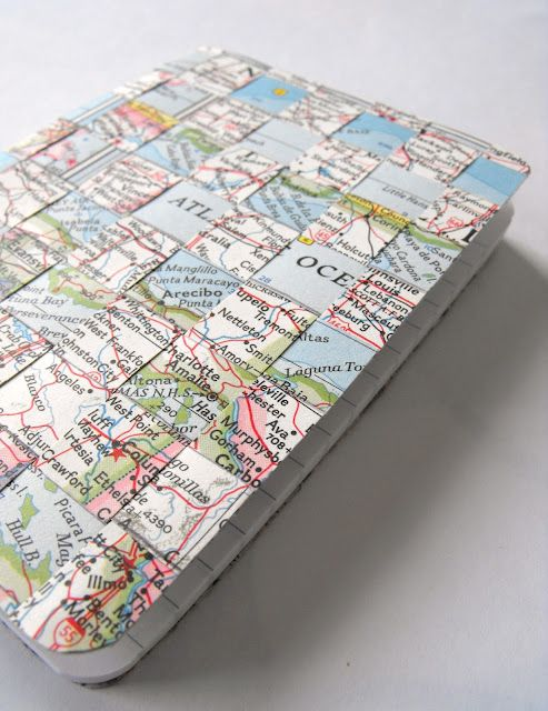 Woven notebook cover made from strips of old maps. Great for a vacation journal…