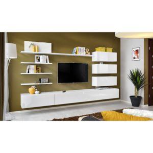 ASM Obývací stěna ITALY, bílá matná/bílý lesk