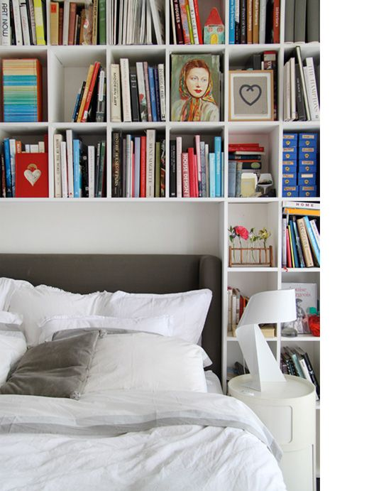 A book-filled master bedroom.