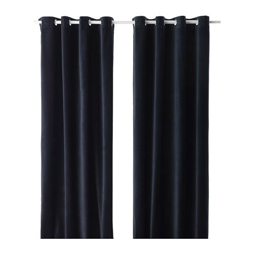 IKEA SANELA Curtains, 1 pair Dark blue 140x250 cm The thick curtains darken the room and provide privacy by preventing people outside from seeing into...