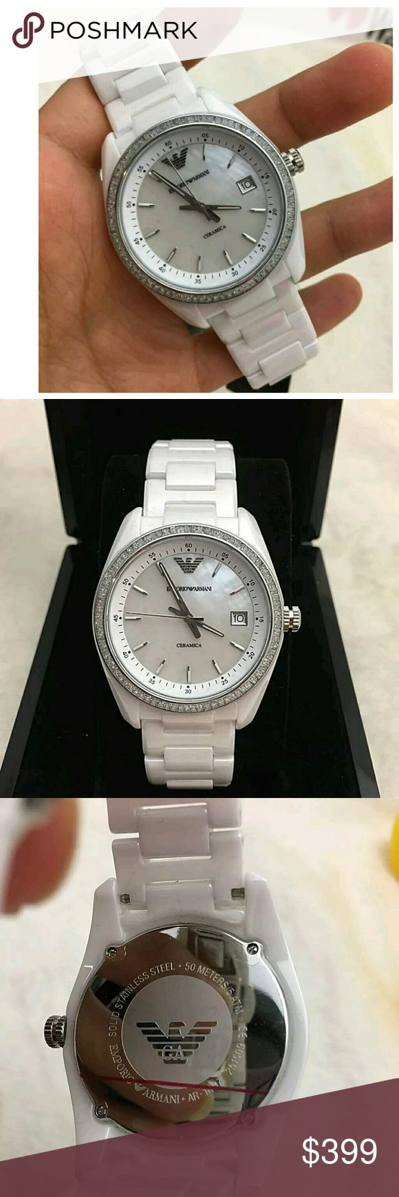 NWT emporio Armani ceramic white watch BRAND NWT EMPORIO ARMANI WHITE CERAMIC CRYSTAL Ladies WATCH.    FIRM PRICE FIRM PRICE FIRM PRICE  $399.00  . AUTHENTIC WATCH  . AUTHENTIC BOX  . AUTHENTIC MANUAL   SHIPPING?  PLEASE ALLOW FEW BUSINESS DAYS FOR ME TO SHIPPED IT OFF.I HAVE TO GET IT FROM MY STORE.    THANK YOU FOR YOUR UNDERSTANDING. Emporio Armani Accessories Watches