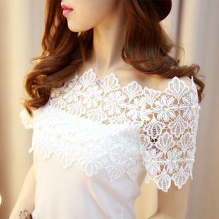 Kadın yazlık giysiler kadın yaz yeni içi boş beyaz dantel bluz kadın kısa kollu t-shirt Slim dip gömlek 16 yeni kısa kollu yaz dantel yakalı gömlek dip gömlek tişört moda vahşi seksi straplez bluzlar