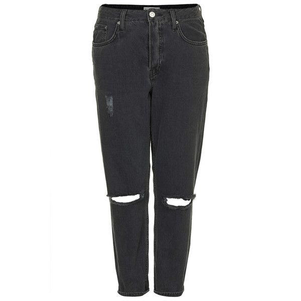 TOPSHOP MOTO Black Wash Ripped Hayden Jeans (405 VEF) ❤ liked on Polyvore featuring jeans, pants, bottoms, trousers, black, destructed boyfriend jeans, topshop jeans, ripped jeans, black torn jeans e loose jeans