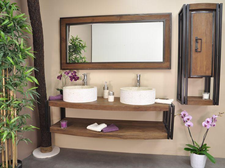 Ensemble Meuble 145cm + miroir de la collection Elégance Parfait pour :  2 vasques à poser. Dimensions meuble : L145 cm P52 cm H37 cm. Dimension miroir : 145cm x h 70cm