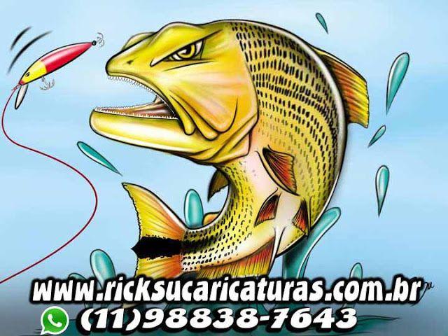 Caricaturas digitais, desenhos animados, ilustração, caricatura realista: llustração de peixes (Dourado) !