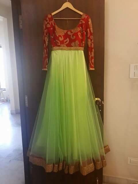 Simple red brocade and green net Anarkali