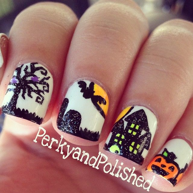 43 best halloween acrylic nail art images on pinterest halloween perkyandpolished haunted house nailsthese were so much fun i love halloween halloween acrylic nailsacrylic nail artacrylic prinsesfo Image collections
