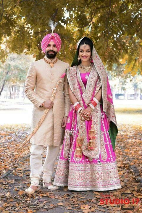 Beautiful Sikh Couple; kaleere ; pink ; color ; swatch ; zari work
