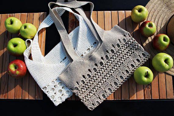 Beige Crochet Tote Bag  Market Tote Shopping Bag  Boho
