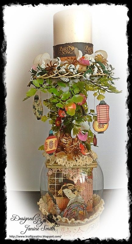 """Graphic 45 - """"Japanese Garden"""" Altered Wine Glass--I'm digging out my wine glasses from the Yard Sale box!--this project is gorgeous"""