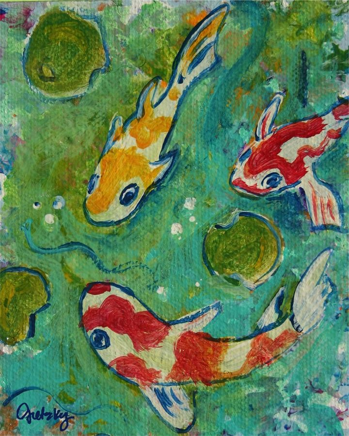 Koi pond painting by gretzky paintings pinterest koi for Koi pool paint