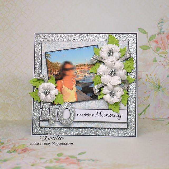 Emilia tworzy: Srebrna kartka urodzinowa ze zdjęciem/Silver birthday card